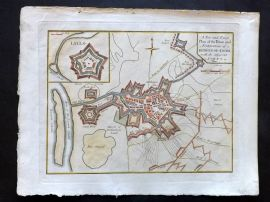 Cary 1801 Hand Col Map. Fortifications of Bergen-op-Zoom, Netherlands